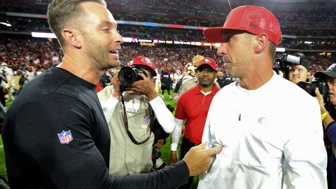 <p>               Arizona Cardinals head coach Kliff Kingsbury, left, greets San Francisco 49ers head coach Kyle Shanahan after an NFL football game, Thursday, Oct. 31, 2019, in Glendale, Ariz. The 49ers won 28-25. (AP Photo/Ross D. Franklin)             </p>