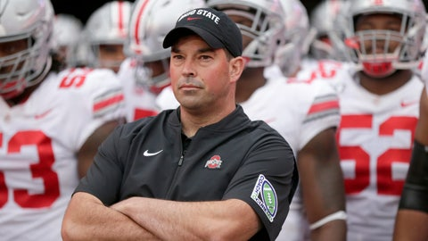 <p>               FILE - In this Sept. 28, 2019, file photo, Ohio State head coach Ryan Day waits with his players before taking the field for an NCAA college football game against Nebraska, in Lincoln, Neb. One year ago, Maryland took Ohio State into overtime before a failed 2-point conversion resulted in a 52-51 defeat. In the rematch Saturday, the Terrapins are a 43-point underdog.(AP Photo/Nati Harnik, File)             </p>