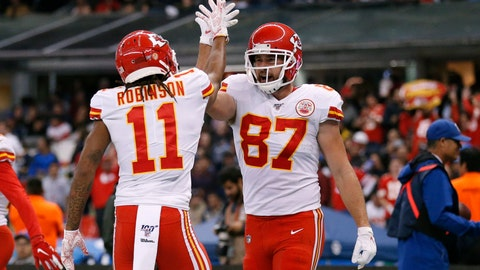 <p>               Kansas City Chiefs tight end Travis Kelce, right, celebrates with teammate wide receiver Demarcus Robinson after scoring a touchdown during the second half of an NFL football game against the Los Angeles Chargers, Monday, Nov. 18, 2019, in Mexico City. (AP Photo/Rebecca Blackwell)             </p>