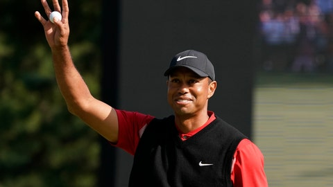 <p>               Tiger Woods of the United States reacts after his putt on the 18th hole during the final round of the Zozo Championship PGA Tour at the Accordia Golf Narashino country club in Inzai, east of Tokyo, Japan, Monday, Oct. 28, 2019. (AP Photo/Lee Jin-man)             </p>
