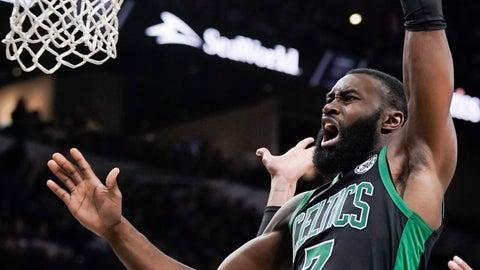 <p>               Boston Celtics' Jaylen Brown shoots during the second half of an NBA basketball game against the San Antonio Spurs, Saturday, Nov. 9, 2019, in San Antonio. (AP Photo/Darren Abate)             </p>