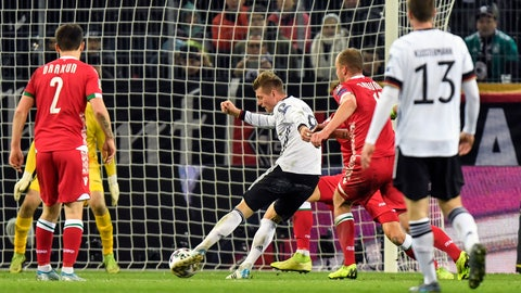 <p>               Germany's Toni Kroos scores his side's 4th goal during the Euro 2020 group C qualifying soccer match between Germany and Belarus in Moenchengladbach, Germany, Saturday, Nov. 16, 2019. (AP Photo/Martin Meissner)             </p>