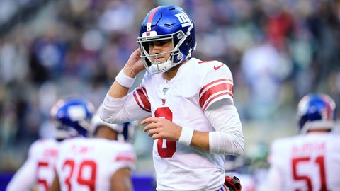<p>               New York Giants quarterback Daniel Jones (8) pauses during the second half of the team's NFL football game against the New York Jets on Sunday, Nov. 10, 2019, in East Rutherford, N.J. (AP Photo/Steven Ryan)             </p>