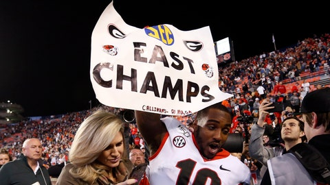 <p>               Georgia wide receiver Kearis Jackson (10) celebrates Georgia clinching the Southeastern Conference East after they defeated Auburn 21-14 in an NCAA college football game, Saturday, Nov. 16, 2019, in Auburn, Ala. (AP Photo/Butch Dill)             </p>