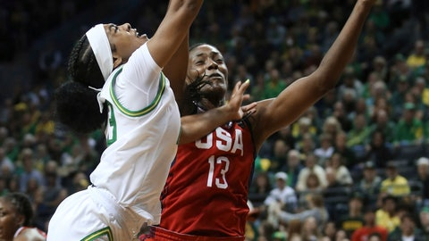 <p>               Oregon's Minyon Moore, left, is fouled while going to the basket by United States' Sylvia Fowles during the first half of an exhibition basketball game in Eugene, Ore., Saturday, Nov. 9, 2019. (AP Photo/Chris Pietsch)             </p>