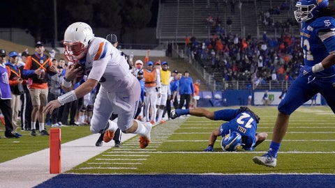 <p>               Boise State quarterback Hank Bachmeier (19) scores a touchdown against San Jose State during the second half of an NCAA college football game, in San Jose, Calif., Saturday, Nov. 2, 2019. (AP Photo/Tony Avelar)             </p>