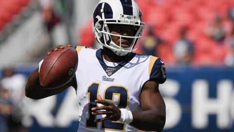 <p>               FILE - In this Sunday, Sept. 29, 2019 file photo, Los Angeles Rams wide receiver Brandin Cooks warms up before an NFL football game against the Tampa Bay Buccaneers in Los Angeles. Los Angeles Rams receiver Brandin Cooks won't play in Sunday's game against Pittsburgh while he seeks further medical help for his second concussion in a month. Cooks was ruled out by Rams coach Sean McVay on Wednesday, Nov. 6, 2019. (AP Photo/Mark J. Terrill, File)             </p>