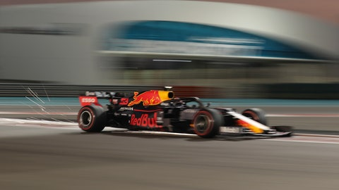 <p>               Red Bull driver Max Verstappen of the Netherland's steers his car during the second free practice at the Yas Marina racetrack in Abu Dhabi, United Arab Emirates, Friday, Nov. 29, 2019. The Emirates Formula One Grand Prix will take place on Sunday. (AP Photo/Hassan Ammar)             </p>