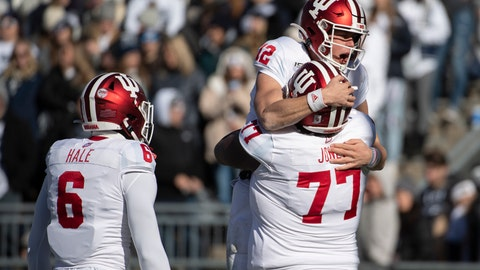 <p>               Indiana quarterback Peyton Ramsey (12) celebrates with offensive lineman Caleb Jones (77) after scoring a touchdown during the first quarter of NCAA college football game against Penn State in State College, Pa., on Saturday, Nov.16, 2019. (AP Photo/Barry Reeger)             </p>