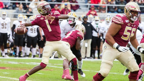 <p>               Florida State quarterback James Blackman winds up to throw a 69-yard touchdown pass on the first play from scrimmage in the first half of an NCAA college football game against Alabama State in Tallahassee, Fla., Saturday, Nov. 16, 2019. (AP Photo/Mark Wallheiser)             </p>