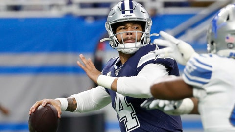 <p>               Dallas Cowboys quarterback Dak Prescott (4) is pressured during the first half of an NFL football game against the Detroit Lions, Sunday, Nov. 17, 2019, in Detroit. (AP Photo/Rick Osentoski)             </p>