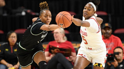<p>               Maryland guard Kaila Charles (5) battles for the ball against Wagner forward Jordan Hobson, left, during the first half of an NCAA college basketball game, Tuesday, Nov. 5, 2019, in College Park, Md. (AP Photo/Nick Wass)             </p>
