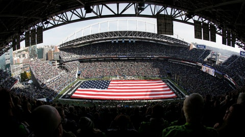 <p>               A full-field flag is displayed at CenturyLink Field before an NFL football game between the Seattle Seahawks and the Tampa Bay Buccaneers, Sunday, Nov. 3, 2019, in Seattle. (AP Photo/Scott Eklund)             </p>