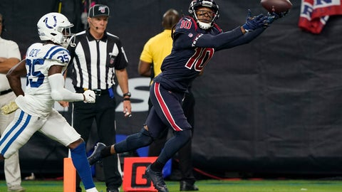 <p>               Houston Texans wide receiver DeAndre Hopkins (10) makes a touchdown catch past Indianapolis Colts cornerback Pierre Desir (35) during the second half of an NFL football game Thursday, Nov. 21, 2019, in Houston. (AP Photo/David J. Phillip)             </p>