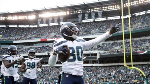 <p>               Seattle Seahawks' Bradley McDougald (30) celebrates after intercepting a Philadelphia Eagles' pass during the first half of an NFL football game, Sunday, Nov. 24, 2019, in Philadelphia. (AP Photo/Matt Rourke)             </p>
