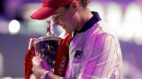 <p>               Ashleigh Barty of Australia holds her winning trophy on stage after defeating Elina Svitolina of Ukraine in the WTA Finals Tennis Tournament at the Shenzhen Bay Sports Center in Shenzhen, China's Guangdong province, Sunday, Nov. 3, 2019. (AP Photo/Andy Wong)             </p>