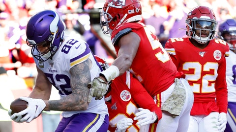 <p>               Minnesota Vikings tight end Kyle Rudolph (82) makes a touchdown catch against Kansas City Chiefs cornerback Bashaud Breeland (21), safety Juan Thornhill (22) and linebacker Damien Wilson (54) during the second half of an NFL football game in Kansas City, Mo., Sunday, Nov. 3, 2019. (AP Photo/Colin E. Braley)             </p>