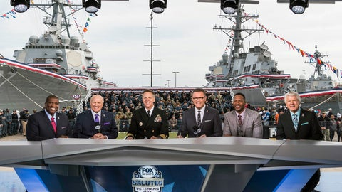 """<p>               In this 2017 photo provided by Fox Sports, from left to right, Curt Menefee, Terry Bradshaw, Adm. Phil Davidson, commander of U.S. Fleet Forces, Howie Long, Michael Strahan and Jimmy Johnson pose during the """"Fox NFL Sunday"""" pregame show at Naval Station-Norfolk. This year's Salute to Veterans Day show will originate from the U.S. Military Academy at West Point. (Jen Pransky/Fox Sports via AP)             </p>"""