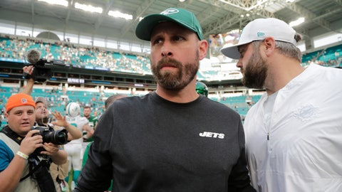 <p>               New York Jets head coach Adam Gase walks off the field after an NFL football game against the Miami Dolphins, Sunday, Nov. 3, 2019, in Miami Gardens, Fla. (AP Photo/Lynne Sladky)             </p>