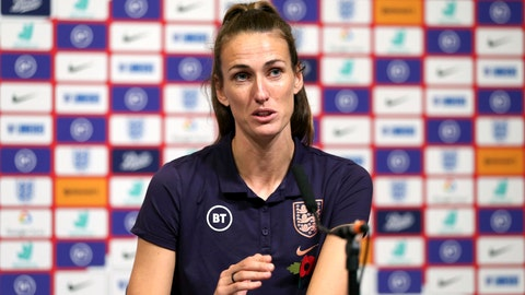 <p>               England's Jill Scott speaks during the press conference at Wembley Stadium, London, Friday Nov. 8, 2019. Returning to play at Wembley Stadium for a third time is a chance for Jill Scott to reflect. Scott using another visit by Germany on Saturday to bask in the advances in women's soccer in England. (Steven Paston/PA via AP)             </p>