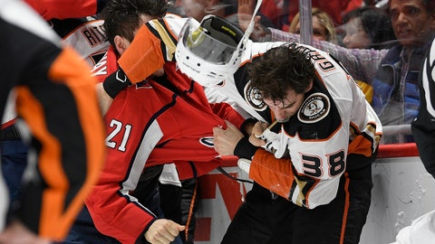 <p>               Washington Capitals right wing Garnet Hathaway (21) fights Anaheim Ducks center Derek Grant (38) during the second period of an NHL hockey game, Monday, Nov. 18, 2019, in Washington. (AP Photo/Nick Wass)             </p>