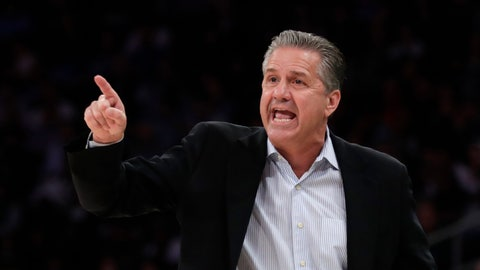 <p>               Kentucky coach John Calipari directs his team against Michigan State during the first half of an NCAA college basketball game Tuesday, Nov. 5, 2019, in New York. (AP Photo/Adam Hunger)             </p>
