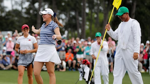 <p>               FILE - In this April 6, 2019, file photo, Jennifer Kupcho, second from left, celebrates after sinking a putt on the 18th hole to win the Augusta National Women's Amateur golf tournament in Augusta, Ga. Kupcho advanced to the LPGA Tour finale despite only turning pro five months ago (AP Photo/David Goldman, File)             </p>