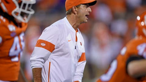 <p>               Clemson head coach Dabo Swinney calls out commands during the first half of an NCAA college football game against Boston College, Saturday, Oct. 26, 2019, in Clemson, S.C. (AP Photo/Richard Shiro)             </p>