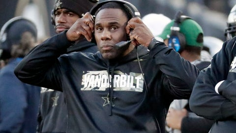 <p>               Vanderbilt head coach Derek Mason watches from the sideline in the first half of an NCAA college football game against Kentucky, Saturday, Nov. 16, 2019, in Nashville, Tenn. (AP Photo/Mark Humphrey)             </p>