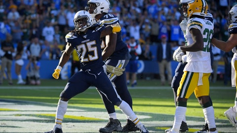 <p>               Los Angeles Chargers running back Melvin Gordon celebrates after scoring during the second half of an NFL football game against the Green Bay Packers Sunday, Nov. 3, 2019, in Carson, Calif. (AP Photo/Mark J. Terrill)             </p>