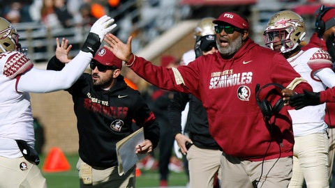 <p>               Florida State interim head coach Odell Haggins cheers his team after a defensive stop in the first half of an NCAA college football game against Boston College, Saturday, Nov. 9, 2019, in Boston. (AP Photo/Bill Sikes)             </p>