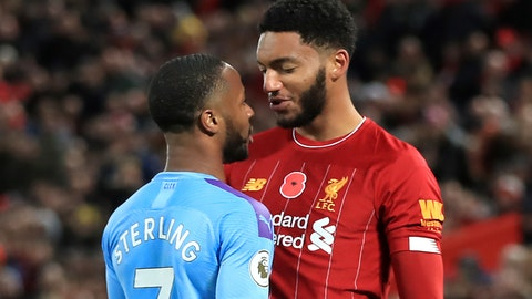 <p>               Liverpool's Joe Gomez, right, and Manchester City's Raheem Sterling clash during the Premier League soccer  match at Anfield, Liverpool, Sunday Nov. 10, 2019. Raheem Sterling will not be considered for England's European Championship qualifier against Montenegro after emotions ran high when the team gathered on Monday following Manchester City's loss to Liverpool. A day after the Premier League top-of-the-table match at Anfield, where Sterling clashed with Liverpool defender Joe Gomez near the end, both players apparently became involved in another exchange when the England squad convened at the national training center at Burton upon Trent. (Peter Byrne/PA via AP)             </p>
