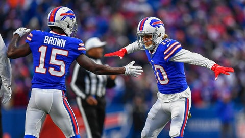 <p>               Buffalo Bills wide receiver Cole Beasley (10) celebrates with wide receiver John Brown (15) after scoring a touchdown against the Denver Broncos during the fourth quarter of an NFL football game, Sunday, Nov. 24, 2019, in Orchard Park, N.Y. (AP Photo/Adrian Kraus)             </p>