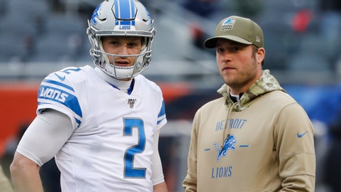<p>               Detroit Lions quarterback's Jeff Driskel (2) and Matthew Stafford watch during warmups before an NFL football game against the Chicago Bears in Chicago, Sunday, Nov. 10, 2019. (AP Photo/Charles Rex Arbogast)             </p>