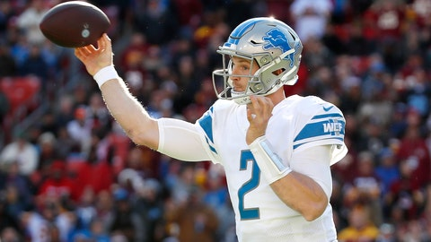 <p>               Detroit Lions quarterback Jeff Driskel throws a pass against the Washington Redskins during the first half of an NFL football game, Sunday, Nov. 24, 2019, in Landover, Md. (AP Photo/Alex Brandon)             </p>