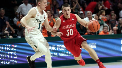 <p>               Louisville guard Ryan McMahon (30) drives to the basket as Miami guard Dejan Vasiljevic (1) defends during the first half of an NCAA college basketball game, Tuesday, Nov. 5, 2019, in Coral Gables, Fla. (AP Photo/Lynne Sladky)             </p>