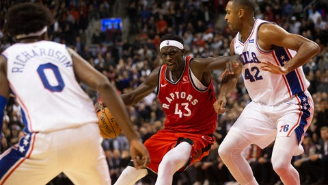 <p>               Toronto Raptors forward Pascal Siakam protects the ball from Philadelphia 76ers' Al Horford during second half NBA basketball action in Toronto on Monday, Nov. 25, 2019. (Chris Young/The Canadian Press via AP)             </p>