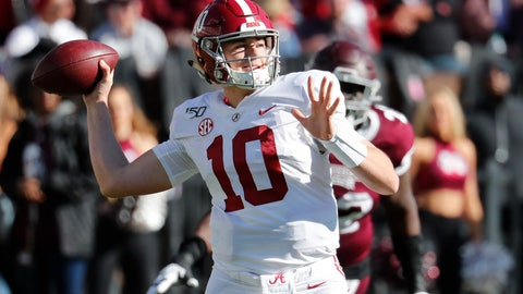 <p>               Alabama quarterback Mac Jones (10) rears back to pass downfield as a Mississippi State defender pursues during the second half of an NCAA college football game in Starkville, Miss., Saturday, Nov. 16, 2019. Alabama won 38-7. (AP Photo/Rogelio V. Solis)             </p>