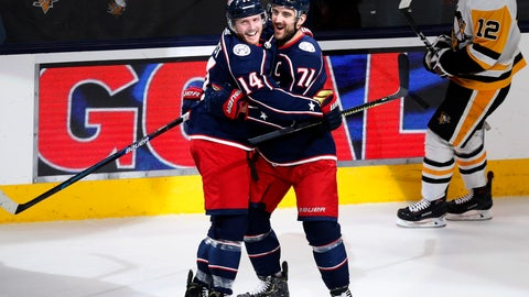 <p>               Columbus Blue Jackets forward Gustav Nyquist, left, of Sweden, celebrates his third goal of an NHL hockey game against the Pittsburgh Penguins with teammate forward Nick Foligno during the third period in Columbus, Ohio, Friday, Nov. 29, 2019. (AP Photo/Paul Vernon)             </p>