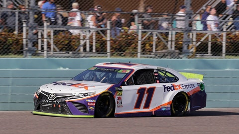 <p>               Denny Hamlin drives on the front stretch during a NASCAR Cup Series auto race on Sunday, Nov. 17, 2019, at Homestead-Miami Speedway in Homestead, Fla. Hamlin is one of four drivers running for the championship. (AP Photo/Terry Renna)             </p>