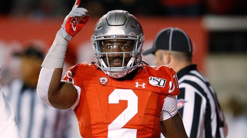 <p>               Utah running back Zack Moss celebrates after a touchdown against UCLA during the first half of an NCAA college football game Saturday, Nov. 16, 2019, in Salt Lake City. (AP Photo/Rick Bowmer)             </p>