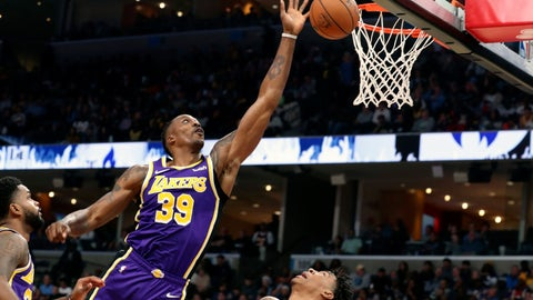 <p>               Los Angeles Lakers' Dwight Howard goes up for a rebound in the first half of a NBA basketball game against the Memphis Grizzlies' Saturday, Nov. 23, 2019, in Memphis, Tenn. (AP Photo/Karen Pulfer Focht)             </p>