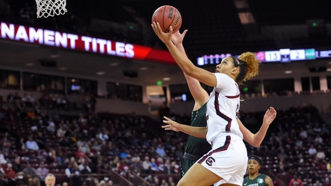<p>               South Carolina's Brea Beal, front, drives to the basket while defended by South Carolina-Upstate's Riley Popplewell during the first half of an NCAA college basketball game Thursday, Nov. 21, 2019, in Columbia, S.C. (AP Photo/Richard Shiro)             </p>