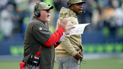 <p>               Tampa Bay Buccaneers head coach Bruce Arians, left, calls to his team during the second half of an NFL football game against the Seattle Seahawks, Sunday, Nov. 3, 2019, in Seattle. (AP Photo/Scott Eklund)             </p>