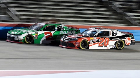 <p>               Tyler Reddick (2) and Christopher Bell (20) come out of Turn 4 during the NASCAR Xfinity Series auto race at Texas Motor Speedway in Fort Worth, Texas, Saturday, Nov. 2, 2019. (AP Photo/Randy Holt)             </p>