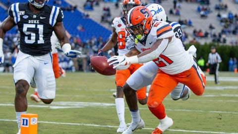 <p>               Syracuse's Moe Neal (21) dives towards the goal line during the first half of an NCAA college football game against Duke in Durham, N.C., Saturday, Nov. 16, 2019. Neal's run was ruled just short of the goal line. (AP Photo/Ben McKeown)             </p>