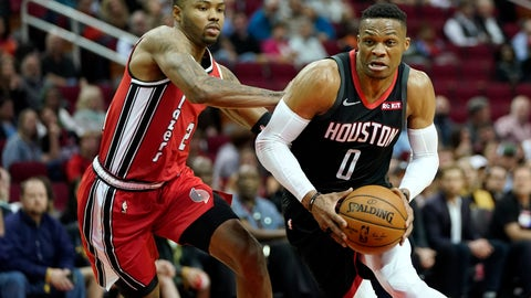 <p>               Houston Rockets' Russell Westbrook (0) drives toward the basket as Portland Trail Blazers' Kent Bazemore defends during the first half of an NBA basketball game Monday, Nov. 18, 2019, in Houston. (AP Photo/David J. Phillip)             </p>