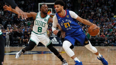 <p>               Denver Nuggets guard Jamal Murray, right, is defended by Boston Celtics guard Kemba Walker during the first half of an NBA basketball game Friday, Nov. 22, 2019, in Denver. (AP Photo/David Zalubowski)             </p>
