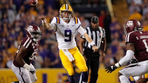 <p>               LSU quarterback Joe Burrow (9) throw a pass during the first half of the team's NCAA college football game against Texas A&M in Baton Rouge, La., Saturday, Nov. 30, 2019. (AP Photo/Gerald Herbert)             </p>
