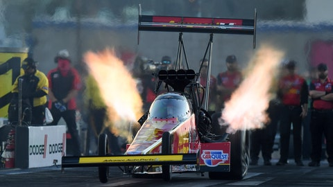 <p>               In this photo provided by the NHRA, Brittany Force drives in Top Fuel qualifying Friday, Nov. 1, 2019, at the Dodge NHRA Nationals drag races in Las Vegas. Force had a pass at 3.659 seconds at 338.17 mph. (Marc Gewertz/NHRA via AP)             </p>